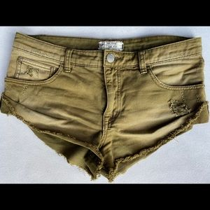 Free People Size 27 Olive Green Denim Shorts